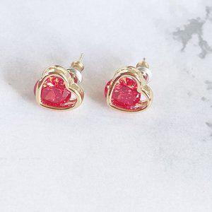 Kate Spade Colorful Zircon Red Heart Earrings